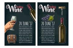 Cartel vertical Letras de la degustación de vinos Botella, sacacorchos, manojo de uva Fotografía de archivo