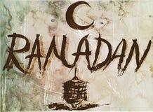 Cartel viejo del Ramadán, manuscrito para el diseño del vintage