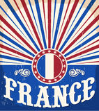 Cartel viejo del vintage de Francia con colores franceses de la bandera Imagen de archivo