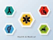 Cartel y bandera con las muestras y los símbolos médicos Imagen de archivo