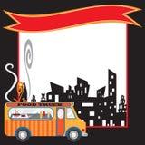 Cartel y bandera del carro del alimento Fotografía de archivo libre de regalías