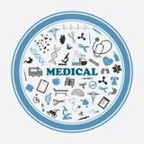 Cartel y etiqueta engomada con las muestras, los símbolos y los equipos médicos Imagen de archivo