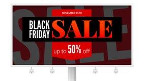 Cartelera con el cartel de la venta Anuncio de Black Friday, acción del descuento y eventos de márketing Levántese el descuento d Libre Illustration