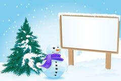 Cartelera con el muñeco de nieve Imagen de archivo libre de regalías