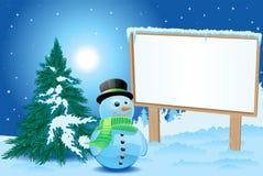 Cartelera con el muñeco de nieve Fotografía de archivo