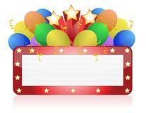 Cartelera con los globos y el confeti Foto de archivo libre de regalías