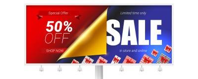 Cartelera con oferta especial Venta en tienda y en línea Descuento del hasta 50 por ciento Bandera con el diseño de texto, encres libre illustration