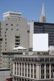 Cartelera cuadrada en blanco en San Francisco, composición vertical Foto de archivo libre de regalías
