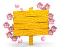Cartelera de Cherry Blossoms And Brown Wood en el fondo blanco Imagen de archivo