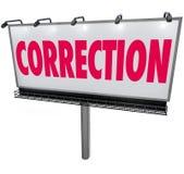 Cartelera de la palabra de la corrección que revisa poniendo al día error del error Fotografía de archivo