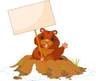 Cartelera del día de Groundhog Fotografía de archivo