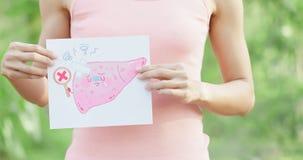Cartelera del hígado de la toma de la mujer fotografía de archivo