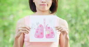 Cartelera del pulmón del unhealth de la toma de la mujer imagen de archivo