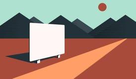 Cartelera en blanco en desierto Foto de archivo