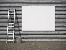 Cartelera publicitaria en blanco en la pared Fotografía de archivo