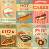 Carteles de la comida Imagen de archivo