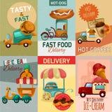 Carteles de la entrega de los alimentos de preparación rápida Imágenes de archivo libres de regalías