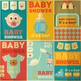Carteles de la fiesta de bienvenida al bebé Fotografía de archivo