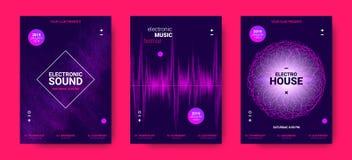 Carteles de la música electrónica con amplitud sana stock de ilustración