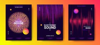 Carteles de la música electrónica con amplitud sana libre illustration
