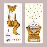 Carteles de la tarjeta del día de San Valentín del bosquejo Imagen de archivo libre de regalías
