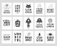 Carteles de los niños fijados Impresión infantil de la tipografía del estilo escandinavo libre illustration