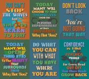 Carteles de motivación e inspirados inusuales de las citas Sistema 11 Foto de archivo libre de regalías