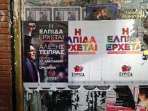 Carteles de Syriza, Atenas Fotos de archivo