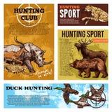 Carteles del bosquejo de la estación abierta del club de caza del vector libre illustration