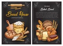 Carteles del bosquejo del pan del vector para la panadería superior libre illustration