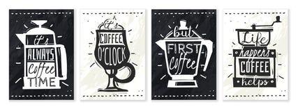 Carteles del caf? fijados stock de ilustración