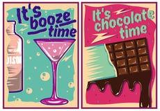 Carteles del chocolate y del cóctel en estilo del vintage Fotografía de archivo libre de regalías