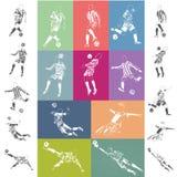 Carteles del fútbol del vector en fondo colorido Fotografía de archivo