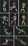 Carteles del fútbol del vector en fondo negro suave Imagen de archivo libre de regalías