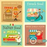 Carteles del festival de la comida de la calle fijados stock de ilustración