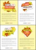 Carteles del precio de Autumn Discount Special Offer Promo libre illustration
