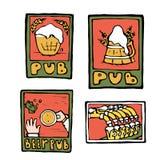 Carteles del pub de la cerveza, etiquetas engomadas, emblemas Imágenes de archivo libres de regalías