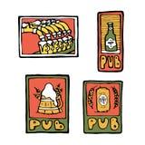 Carteles del pub de la cerveza, etiquetas engomadas, emblemas Foto de archivo
