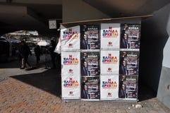 Carteles del quiosco de la campaña de Syriza Fotografía de archivo libre de regalías