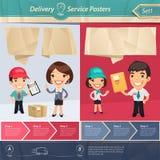 Carteles del servicio de entrega Fotos de archivo libres de regalías