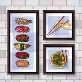 Carteles del sushi Imagen de archivo