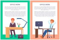 Carteles del trabajo de oficina que sueñan a los varones que se sientan en el trabajo libre illustration