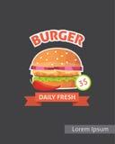 Carteles determinados de la hamburguesa de los alimentos de preparación rápida del vintage Vector aislado hamburguesa retra Imágenes de archivo libres de regalías