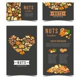 Carteles verticales para la nutrición de la nuez del vegano stock de ilustración