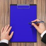 Cartella con carta e la penna, concetto di affari Immagini Stock Libere da Diritti
