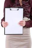 Cartella con i fogli di carta bianchi Fotografia Stock
