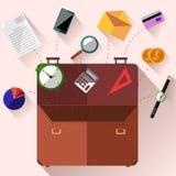 Cartella con il concetto degli accessori dell'ufficio Fotografie Stock