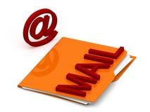 Cartella con il testo della posta ed il simbolo - concetto della posta - 3d Fotografia Stock Libera da Diritti