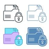 Cartella con l'insieme dell'icona del profilo di vettore della serratura Fotografia Stock Libera da Diritti