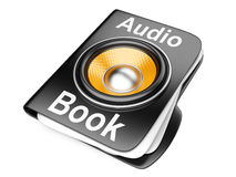 cartella 3d con l'altoparlante. concetto del audio-libro Fotografie Stock